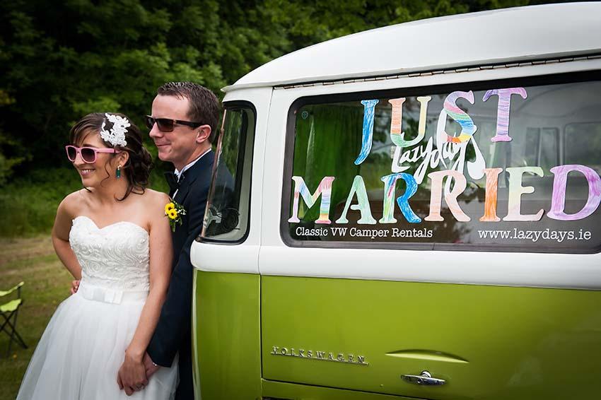just married Volkswagen Vintage Wedding Van for hire, lazydays, ireland