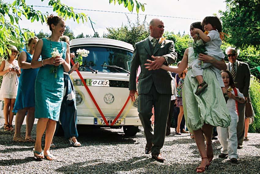 bridal party Volkswagen Vintage Wedding Van for hire, lazydays, ireland
