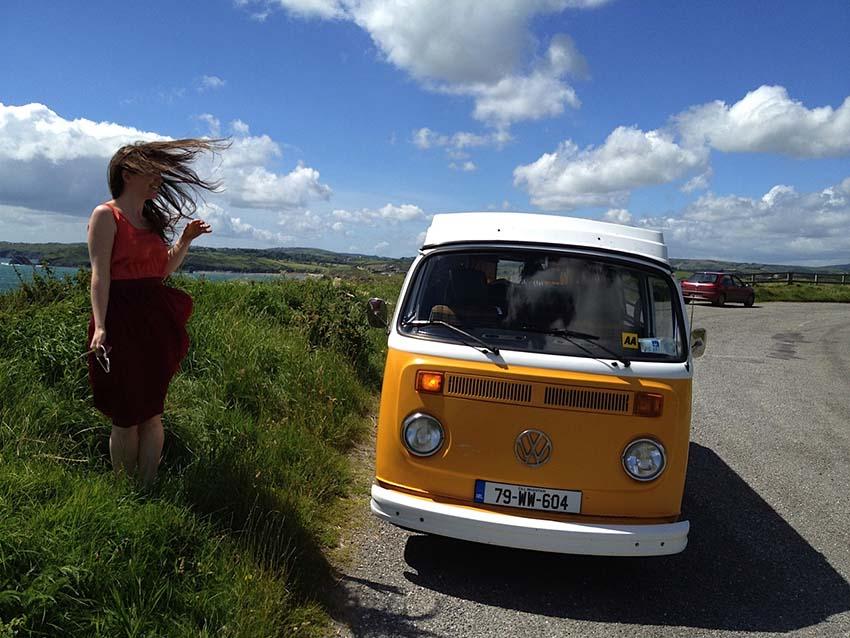 Yellow Vintage camper van hire Ireland