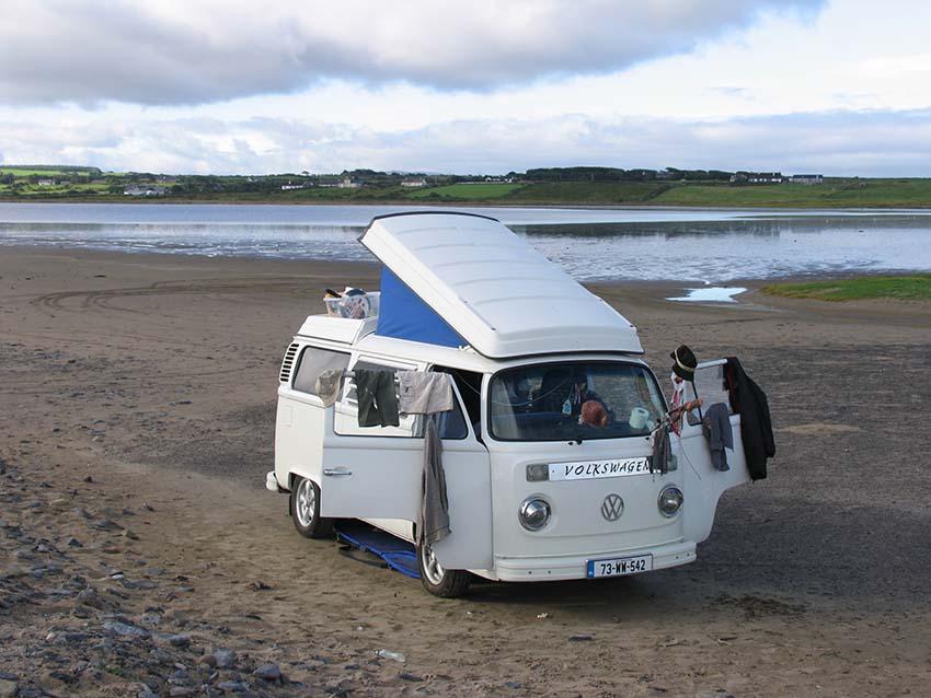 Vintage VW Camper Van , beach touring