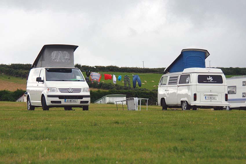 Camper Vans on campsite, Lazydays, VW Camper Van Hire, Ireland