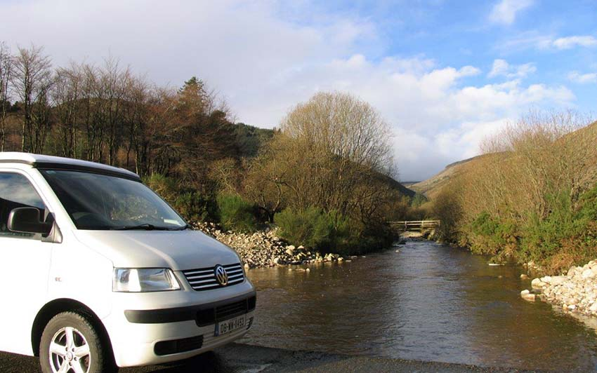 Lazydays, Snow T5 Volkswagen Van by river