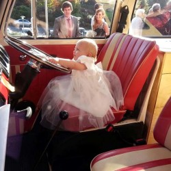 baby at the steering wheelVolkswagen Vintage Wedding Van for hire, lazydays, ireland