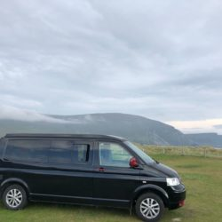 Bandit at Keel Sandybanks Campsite on Achill Island in Mayo on the WAW