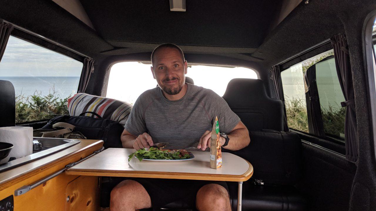 Fine dining in a Lazy Days Camper